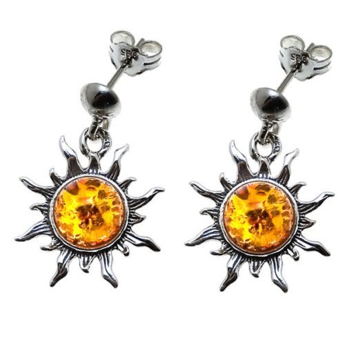 Honey Amber Sterling Silver Flaming Dangle Stud Sun Earrings