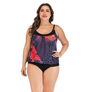 1607f74b3b9 Amazon.com  Women s Bikini Plus Size Beach Sets Strap Floral Printing Halter  Two Pieces Tankni Suits  Clothing