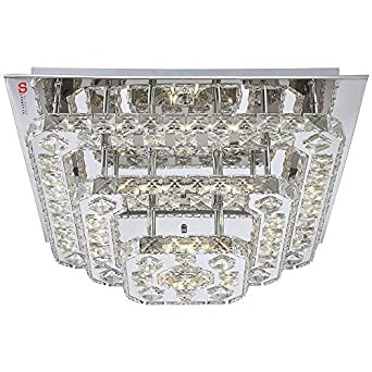 Licht Trend Led Deckenlampe 44w Kristall 50x50 Cm Chrom Amazon De