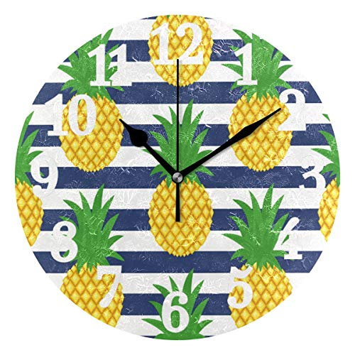 - WIHVE Round Wall Clock Cute Tropical Summer Yellow Pineapple Blue White Stripes Home Art Decor Non-Ticking Numeral Clock for Home Office