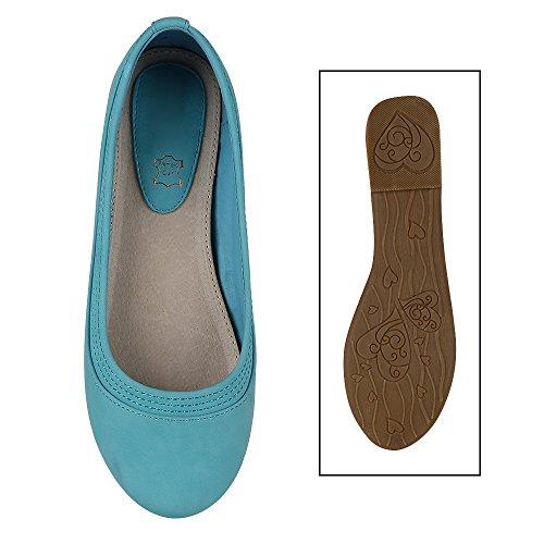 Stiefelparadies Klassische Lack Ballerinas Damen Flats Velours Metallic Ballerina Schuhe Schleifen Glitzer Damenschuhe Flandell Blau Nähte