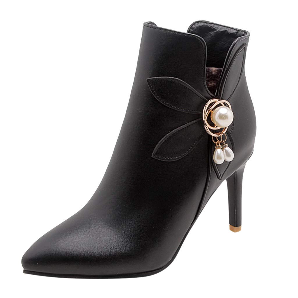 Leaf2you Women's Fashion High Heel Boots Shoes Pearl Metal Ring Pointed Toe Ankle Booties with Side Zipper by Leaf2you