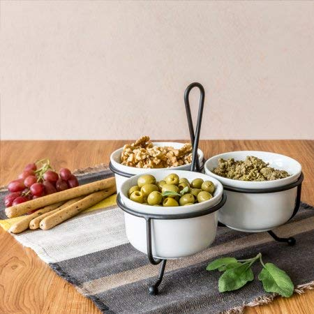 Better Homes and Gardens Porcelain 3 Bowl Condiment Tray with Metal Rack