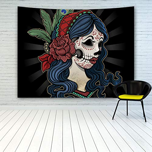 Halloween Sugar Skull Lady Tapestry, Day of The Dead Woman Girl with Sugar Skull Flowers Makeup Face Tapestry Wall Hanging for Halloween Party Decoration Home Decor Wall Art Tapestries -