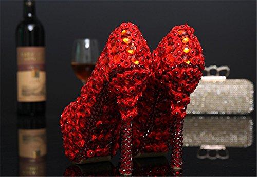Mnii Kvinder Lilla Høje Ende Rhinestonesgorgeous Rhinestone Kvinder Pumps Brude Brudepige Bryllup Designer Høj Hæle Platform Party Stilethæl God Kvalitet Røde J0qIHxSj