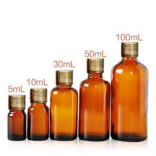 4PCS 5ml/10ml/30ml/50ml/100ml Empty Reusable Amber Glass Bottle Vial Jar Container with Gold Screw Lid and Inner Plug for Essential Oil Perfume Cosmetic (50ml Amber Glass)