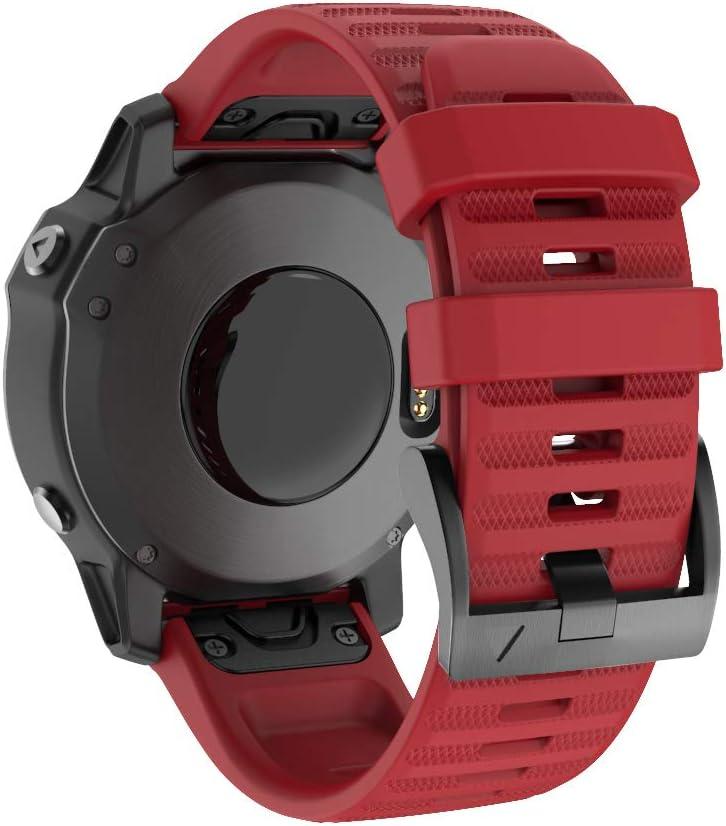 Isabake Watch Band for Garmin Fenix 6X/6X Pro, QuickFit 26mm Band Compatible with Fenix 6X/6X Pro Fenix 5X/5X Plus Fenix 3/3 HR(Red)