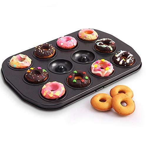 Doughnut Baking Tin, 12 Hole Doughnut Mold, Carbon Steel Cookie Mould, Non-stick DIY Homemade Cake Bake Tray Biscuit Bagel Baking Tool(black) by YOEDAF (Image #4)