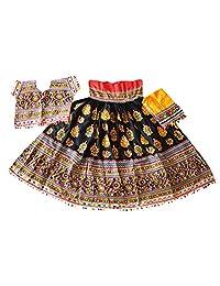 Nanda Women Rayon Indian Kutch Embroidered Chaniya Choli-Navratri Special Lehenga Choli-Banjara Ghagra Choli Black Free Size