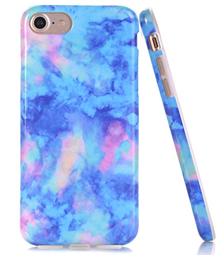 BAISRKE Light Blue Marble Design Clear Bumper TPU Soft Rubber Silicone Cover Phone Case Compatible with iPhone 7 (2016) / iPhone 8 (2017) [4.7 inch]