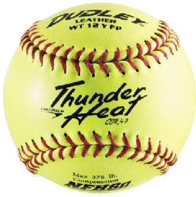Dudley NFHS Thunder Heat Leather 12-Inch Yellow Fast Pitch Softball, .47/375-Pounds, Red Stitch(Pack of 12) 43-147
