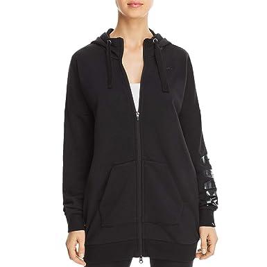 24fc74df29dd PUMA Women s Fusion Elongated Full Zip Hoodie Cotton Black Glitter Large