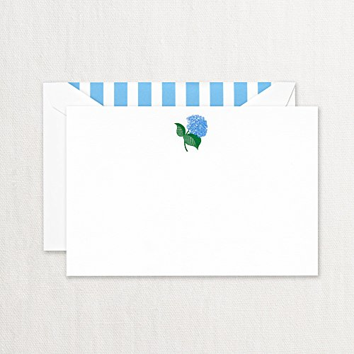 Crane & Co. Engraved Blue Hydrangea Correspondence Cards- Pack of 20 Cards