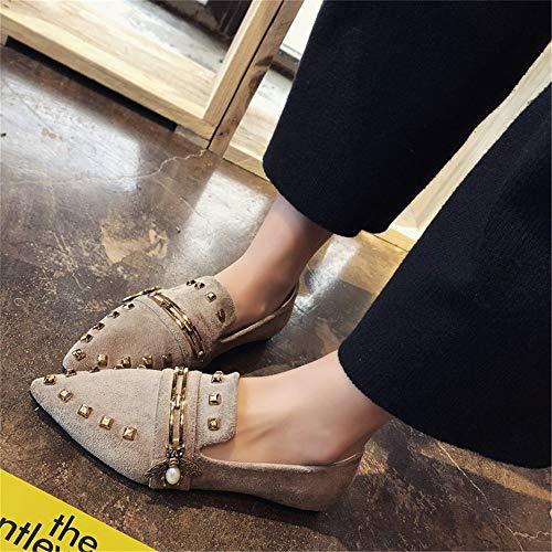 Pointu Sauvages Mocassins Fond Abeille Mode Chaussures À Confortable Kaki Plat Dames Simples BWwqdw76