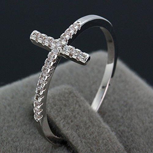 Silver Cross Austrian Crystal Gemstone Lover Wedding Ring Sz6/7/8/9 LOVE STORY (Size 9#) (Cross Pendant Austrian)