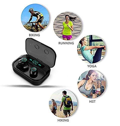 True Wireless Earbuds,HYhong Bluetooth 5.0 Earphone,IPX7 Waterproof Earphones for Sports,3D Stereo in-Ear Headset w/Mic,LED Digital Display,3600mAh Charging Case,for iPhone Android(Black)
