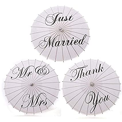 950d816441df84 Just Married - 40pcs Bamboo 20 5 39 Just Married Wedding Umbrella Parasol  White Paper Mr