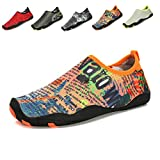 KISFLY Men Women Quick-Dry Water Barefoot Running Gym Shoes For Beach Pool Surf Yoga Exercise Orange Size 9