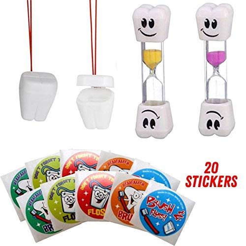 Teeth Brushing Timer, Lost Tooth Saver Necklace and Stickers For Kids