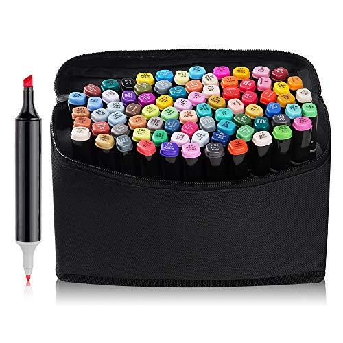 54cf679d1e39 80 Set Color Marker Pen Set Drawing Painting Art Dual Tip Sketch Pen Art  Sketch Twin Tip Design with Carry Bag(Comic Selection) (80 Set, ...