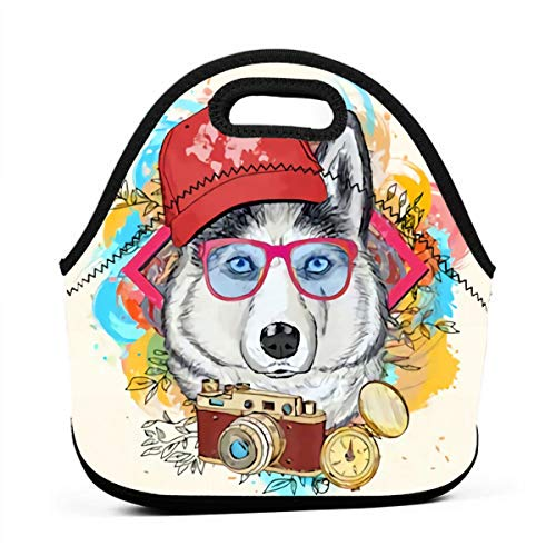 Neoprene Waterproof Portable Lunch Bag - Reusable Picnic Box Soft Insulated Food Tote With Zipper Outdoor Travel Bento Bags - White Husky With Red Hat And Glasses Holding Camera