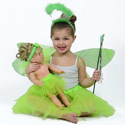 Green Fairy/ Pixie Dress up Costume for Girls - Matching Pretend Play set for Girls and Dolls - Fits 18 Inch and American Girl (Doll Costume With Tutu)