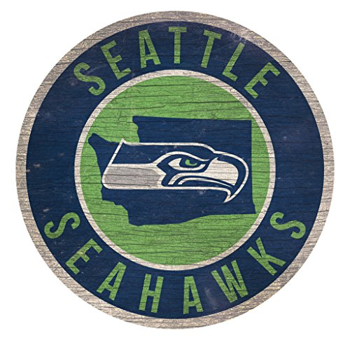 Fan Creations Seattle Seahawks Wood Sign 12 Inch Round State Design -