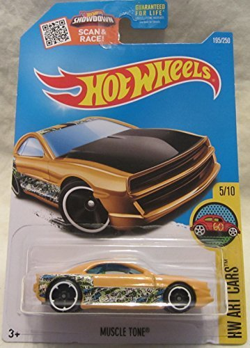 Hot Wheels 2016 H.W. Art Cars Muscle Tone Yellow 195/250 (Stickers Wheels Hot Cars)