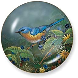 Berry Bush Lookout Bluebird by Sam Timm 8.25 inch Decorative Collector Plate