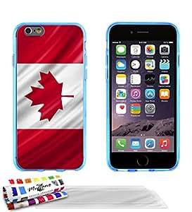 Carcasa Flexible Ultra-Slim APPLE IPHONE 6 4.7 POUCES de exclusivo motivo [De Canada Bandera] [Azul] de MUZZANO + 3 Pelliculas de Pantalla UltraClear + ESTILETE y PAÑO MUZZANO® REGALADOS - La Protección Antigolpes ULTIMA, ELEGANTE Y DURADERA para su APPLE IPHONE 6 4.7 POUCES