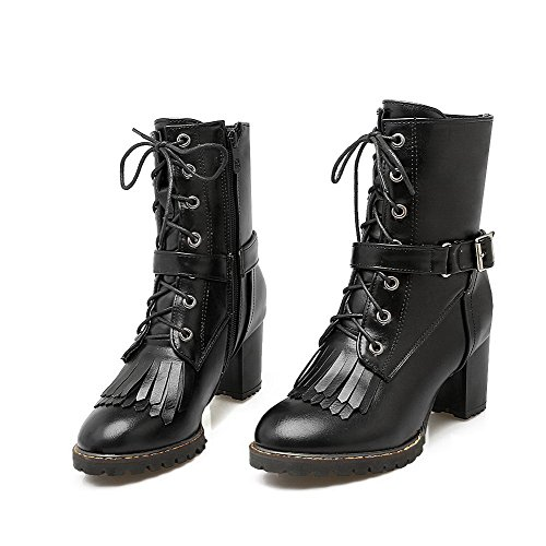 Boots Black Tassels Materials BeanFashion Toe Blend Closed Women's with Solid Adornment zBzwgY