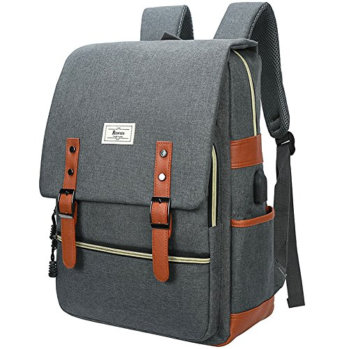 Ronyes Unisex College Bag Fits up to 15.6'' Laptop Casual Rucksack Waterproof School Backpack Daypacks (Gray) (Best School Laptops Under 400)