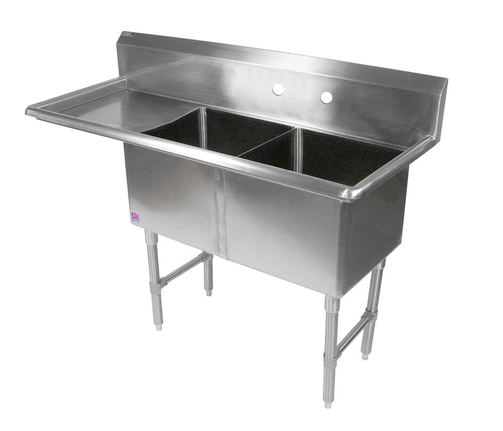 John Boos 2B184-1D18L B Series 2 Compartment Stainless Steel Sink, 18'' Left Hand Drain Board, 18'' x 18'' x 14'' Bowl
