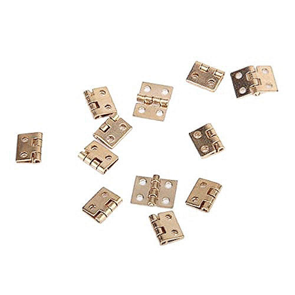 PIXNOR 12pcs Cabinet Closet Mini Hinges with 48pcs Screws for 1:12 Dollhouse Miniature Furniture (Golden)