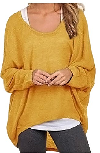 uget-womens-casual-oversized-baggy-off-shoulder-shirts-pullover-tops-asia-xl-yellow