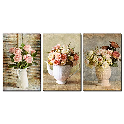 wall26 - 3 Panel Canvas Wall Art - Retro Style White and Pink Roses - Giclee Print Gallery Wrap Modern Home Decor Ready to Hang - 16