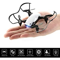 Nano Mini RC Portable Pocket Foldable Stunt Drone Quadcopter Helicopter for Kids, Beginners, Indoor & Outdoor- Altitude Hold, One Key Take-off/Landing & Remote Control (white)