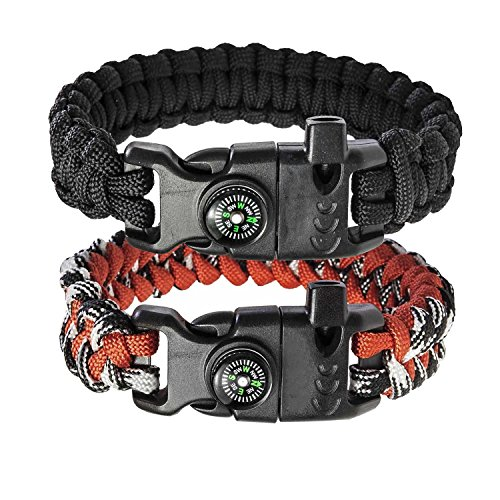 Tactical Paracord Survival Bracelet Kit 8 In 1 Flint Fire Starter