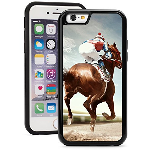 lus 6s Plus Shockproof Impact Hard Soft Case Cover Racing Horse (Black) ()