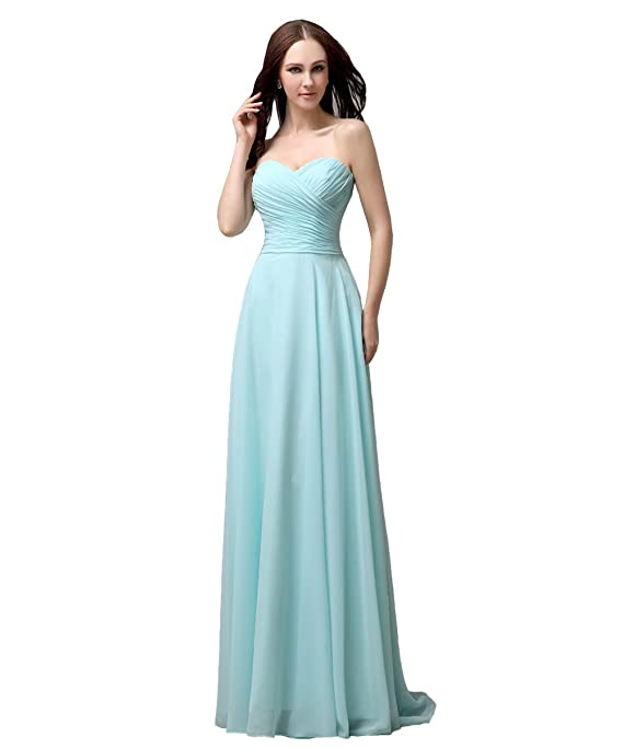 YesDress Juniors Formal Simple Spring Most Popular Sweet Heart Chiffon Lace Up Back Long Tiffany Blue Bridesmaid Dresses: Amazon.co.uk: Clothing