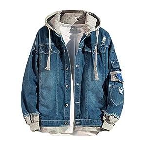 Men's  Ripped Hood Trucker Jacket Short Denim Coats