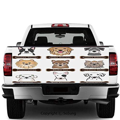 SoSung Dog Lover Decor Vinyl Wall Stickers,Various Type of Dogs Nameplate Boston Terrier Domestic Animal Faithful Loyal Cars Trucks Decorative Decal Sticker,60x20 Inches,Grey Cream White (Boston Market Flower Hours)