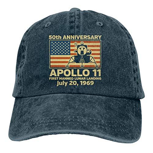American Flag 50th Anniversary Moon Landing Denim Dad Cap Baseball Hat Adjustable Sun Cap