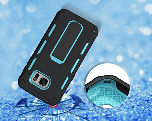 Funda Galaxy S7 edge,Saincat TPU Silicona con Diseño 3D Carcasa Case con Stand Holder Bumper Case con integrado Soporte Soporte Anti-Drop Shockproof Slim Funda caso Parachoques Silicona Transparente T Azul