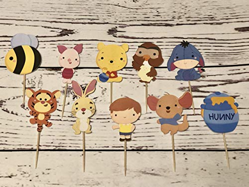 Inspired Winnie the pooh cupcake toppers,Winnie the pooh bear, pooh bear cupcake toppers, Winnie the pooh party supplies, winnie the pooh birthday, winnie the pooh cake decor - Pooh Bear Cake Birthday