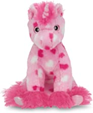 Bearington Enchanted Hearts Pink Valentines Plush Stuffed Animal Unicorn with Hearts, 10 inches