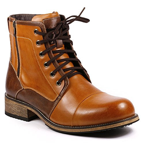 Brown Leather High Heel Boot (Metrocharm MC003 Men's Lace Up Cap Toe Formal Dress Casual Fashion Boots (10, Tan /)