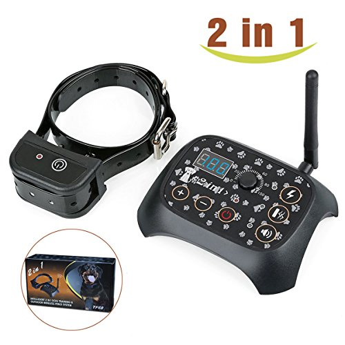 Stonepack 2-in-1 Wireless Dog Fence System with Dog Training Collar, Invisible Pet Fence System Kit Static Shock & Vibration & Tone for Small to Large Dogs by Stonepack