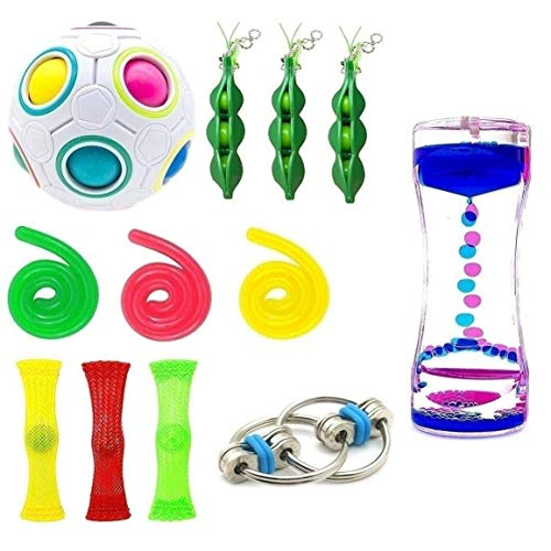 16 Pack Bundle Sensory Toys-Liquid Motion Timer/Rainbow Magic Balls/Bike Chain/Mesh And Marble Toy/Squeeze-a-Bean Soybean/Stretch String Toy for ADD ADHD Stress Relax by SpringFly