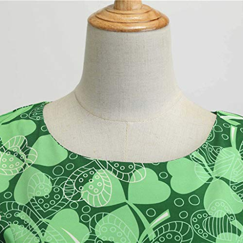 a91cf0758068 St. Patrick's Day Women Green Dress Vintage Print Sleeveless Pleated Dresses  with Belt